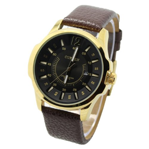 Elgin Bezel Watch (Curren 8123 Modern Business Face Gold / Black Watch w/ Day)