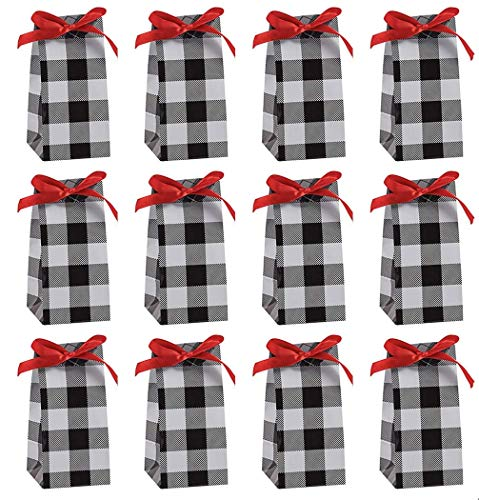 Fun Express~ Buffalo Plaid Favor Boxes/Containers - 12 Pack Black/White Buffalo Check w/ red Bow