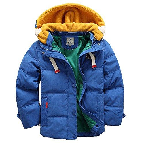 [Kinder Winterjacke mit Kapuze] Daunenjacke für Jungen Wintermantel Down Jacket Winter Jacket Wintermantel Mantel Parka Outerwear Blau 120