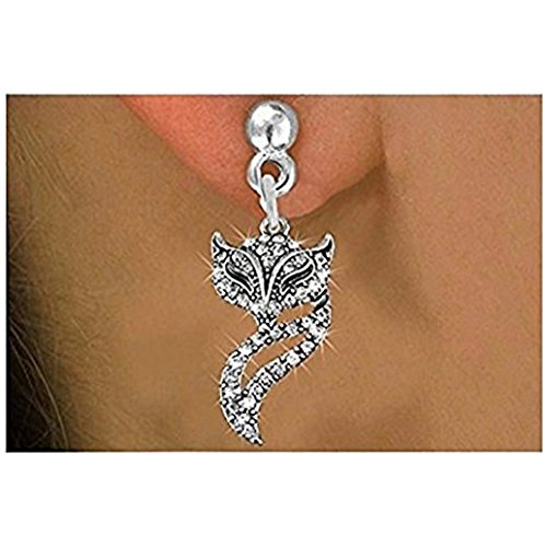 Deluxe Jewel Sparkles Girls Costumes (Antiqued Silver Tone and Clear Crystal Foxy Vixen Charm Earrings - Surgical Steel Post)
