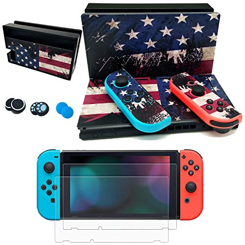 easyCool Vinyl Set Faceplate Skin Decal Stickers for Nintendo Switch (Console & Joy-con & Dock) with 2Pcs Tempered Glass Screen Protector,6Pcs Silicone Thumbstick Joystick Caps - National Flag