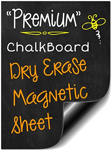 "Magnetic Chalk Dry Erase Board (Bigtime 16"" Magnetic Dry Erase Weekly Chalkboard Menu Meal Planner Organizer for Refrigerator 
