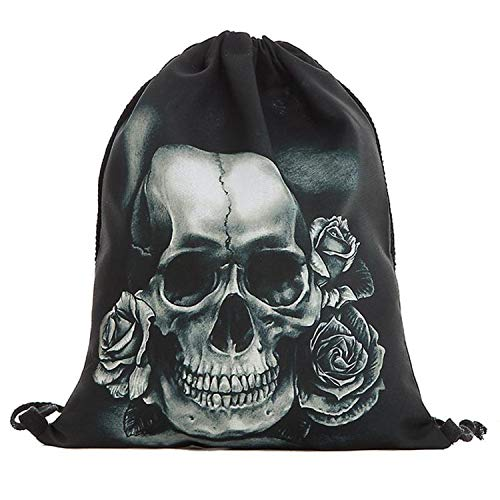 Drawstring bag Draw String Bag Unisex Halloween Skull Backpacks 3D Printing Drawstring Backpack,A,United States