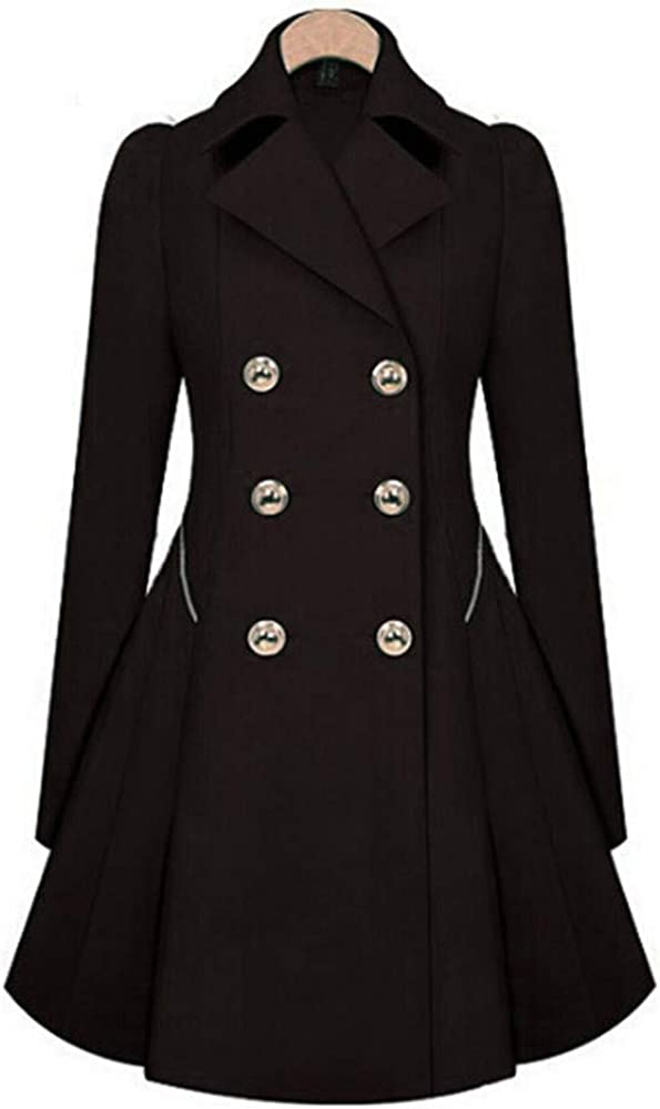 Soluo Women's Double Breasted Steampunk Blazer Victorian Slim Fit Lapel Office Coat Jacket