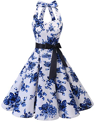 Bridesmay Women's 1950s Vintage Halter Retro Rockabilly Floral Cocktail Party Swing Dress White Blue Flower -