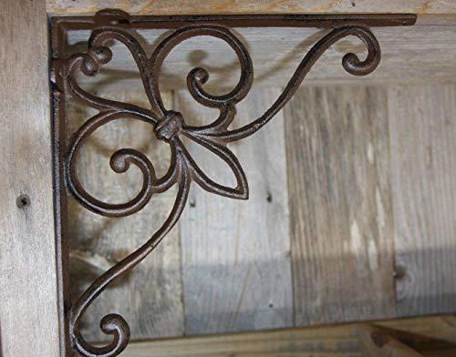 (2 Pair) Cajun Creole Fleur De Lis Shelf Brackets, Heavy Cast Iron, 9 1/2 inches, Set of 4, B-70