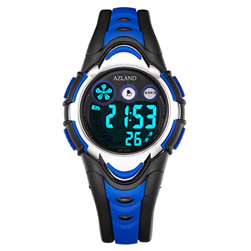 azland-waterproof-swimming-led-digital-sports-watches-for-children-kids-girls-boysrubber-strapblue