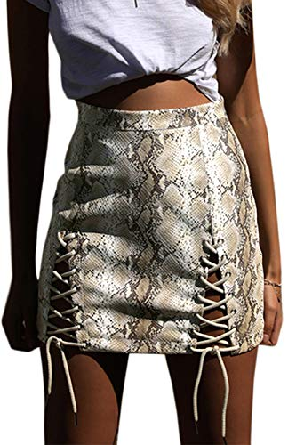 Almaree Womens Plus Size Snake Print High Waist Lace Up Bodycon Mini Skirt Beige XL