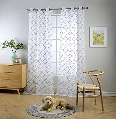 Miuco White Sheer Curtains Embroidery Trellis Design Grommet Curtains 95 Inches Long for French Doors 2 Panels (2 x 37