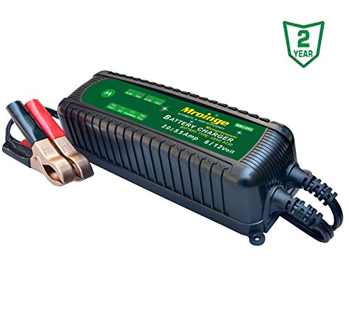 Mroinge MBC055 6V and 12V 5.5A Smart Vehicle Battery Charger / Maintainer for Cars, Motorcycles, RVs, TVs, Powersports, Boat and More Vehicle GEL WET AGM Batteries, With IP65 (Wet Gel Agm)