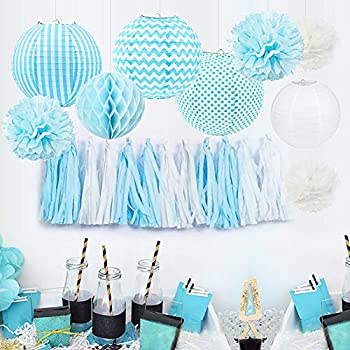 6654c595345 HappyField Baby Boy Baby Shower Decorations Boy Birthday Party Decorations  Tissue Pom Poms Paper Lanterns Tissue