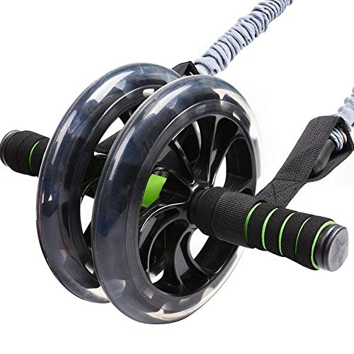 AB Roller Wheel for Abdominal Exercise. Carver Pro Roller for Heavy Duty Core Muscle Workout. Tighten Tummy, Strengthen Back, Build Powerful Leg Muscles. Trainer Set Includes Resistance Band & Mat by Jungle Sport™