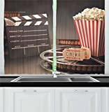 Ambesonne Movie Theater Kitchen Curtains, Old Fashion Entertainment Objects Related to Cinema Film Reel Motion Picture, Window Drapes 2 Panel Set for Kitchen Cafe, 55 W X 39 L Inches, Multicolor