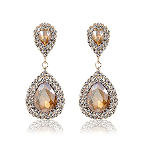 Miraculous Garden Womens Silver Gold Rose Gold Plated Rhinestone Wedding Drop Earrings for Mother's Day