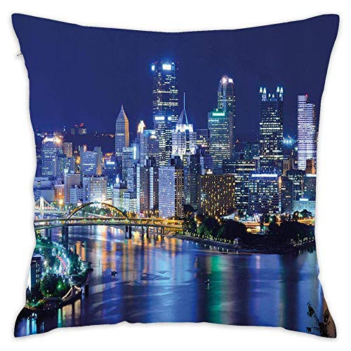 Skyscrapers Downtown Pittsburgh USA American Night Skyline Business Town Scenery Decorative Pillow Case Throw Pillows Covers for Couch/Bed 18 X 18 Inch Home ()