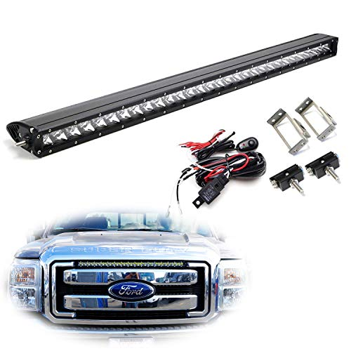 """iJDMTOY Upper Grille Mount 30"""" LED Light Bar Kit For 2011-2016 Ford F250 F350 Super Duty, Includes (1) 150W High Power CREE LED Lightbar, Grill Mounting Brackets & On/Off Switch Wiring Kit"""