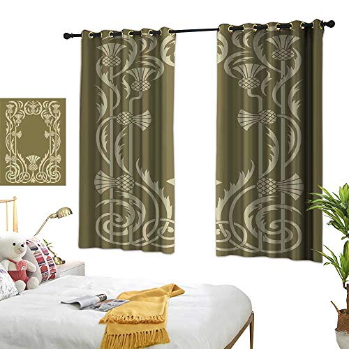 Unpremoon Print Decorative Window Drapes Art Nouveau,Floral Border with Tropical Pineapple Fruits Leaves Retro Style Swirls,Sepia Sage Green W63 x L63 Living Room Drapes Art Nouveau Bronze Door