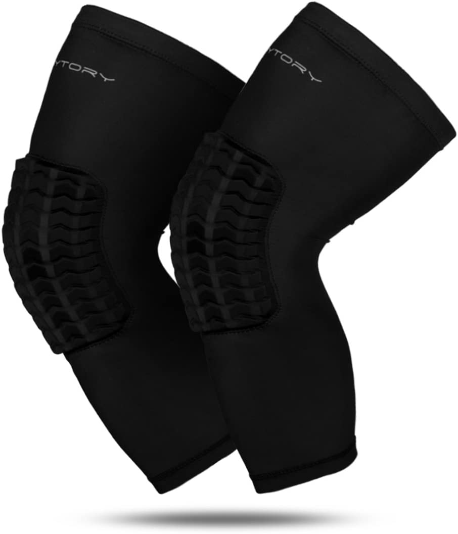 RoryTory Padded Compression Leg Sleeves Basketball Knee Pads Brace Support for Football Volleyball Baseball Soccer Tennis Sports Protection - Sizes & Designs for Men Women Girls Boys Youth Adult