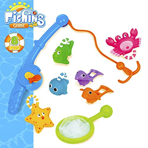 Shower Inflatable (O-Toys 8 Pack Fish Toy for Boys Girls Bath Toys Spray Fishing Toy Sets Animal Floating Squirts Water Scoop Pool Play Set Kids Summer Bathtub Swimming Pool Fishing Game for Toddlers Baby Infants)