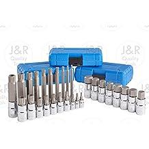 J&R Quality Tools 28pc Hex & XZN 12 Point MM Triple Square Spline Bit Socket Set Tamper Proof Bit