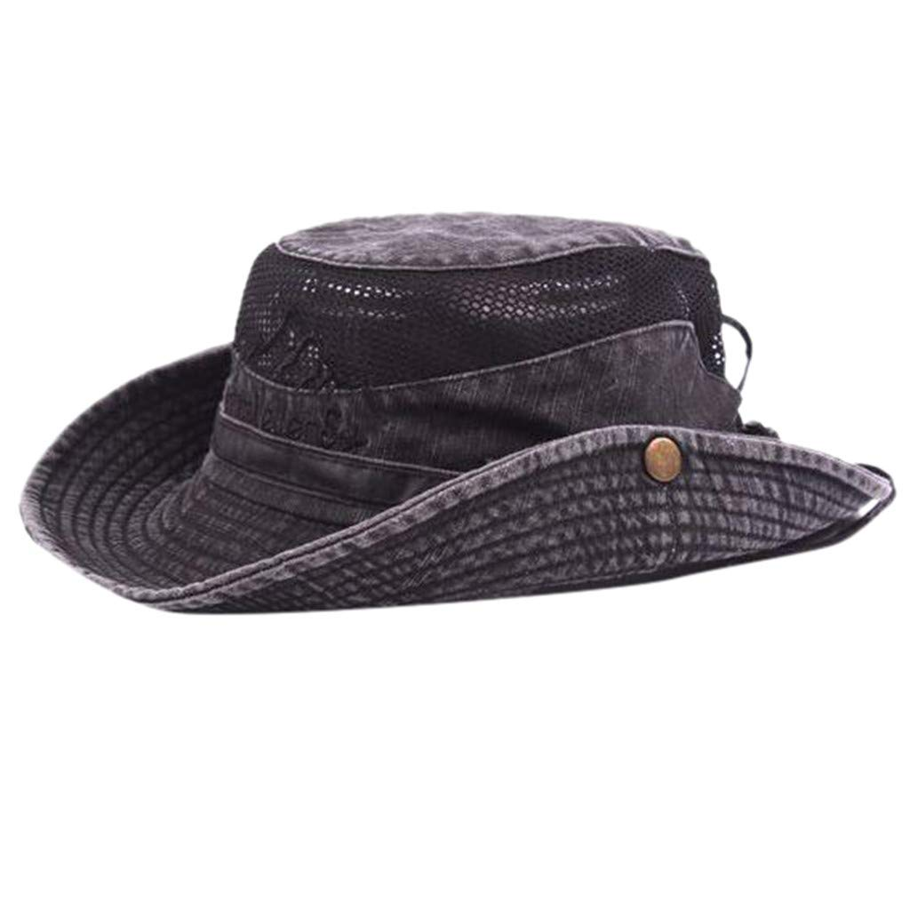 Sanyyanlsy Men Fisherman Hat Outdoor Visor Net Cap Hiking Hat Mesh Breathable Rivet Foldable Adjustable Wind Lanyard Hat Black by Sanyyanlsy