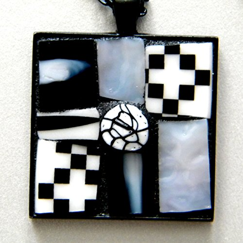 Mosaic Pendant Necklace - Geometric Black and White Square ()
