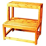 ALFI brand AB4402 20'' Double Stepping Stool Multi-Purpose Accessory, Natural Wood