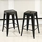 crate and barrel stools Belleze Set of 2 Backless Metal Indoor/Outdoor Barstool with Square Seat, 30