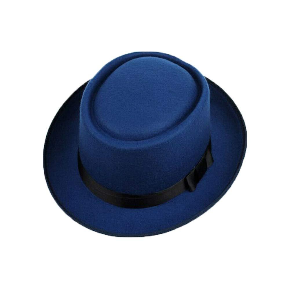 Lily-Li Mens Wool Felt Porkpie Hats Fedora Classic Hats Crushable Bowknot Boater Derby Cap