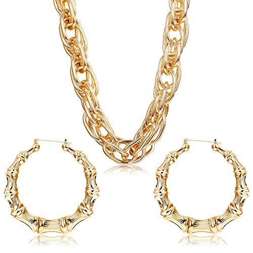 90s Halloween Party (Hanpabum Gold Plated Chunky Rope Chain Necklace and Large Hollow Casting Triangle Bamboo Hoop Earrings Set for Men Women Gold Tone Costume Jewelry Punk Hip Hop Rapper)