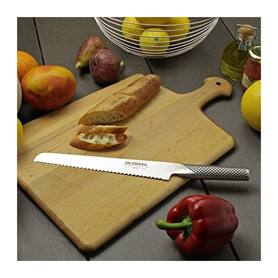 Global Bread Knife 2 Lightweight, precisely balanced 8-3/4-inch bread knife Blade made of high-tech molybdenum/vanadium stainless steel Edge retains razor sharpness exceptionally well