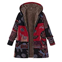 YKARITIANNA Womens Plus Size Hooded Long Sleeves Cotton Linen Faux Fur Zipper Coat Outwear Tops Overcoat