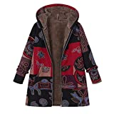 KUDICO Womens Hoodie Coats Parka Winter Warm Thick Oversize Outwear Casual Floral Print Zip Pockets Boho Vintage Jacket(Gray,4XL)