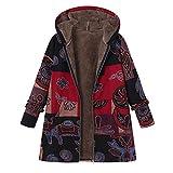 HOOUDO Women Winter Coat Plus Size Hooded Long Sleeve Cotton Linen Print Fluffy Zipper Coat Cardigan Outwear Overcoat (L,Grey)