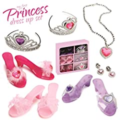 When a little girl dreams it surely takes place in her fairy tale castle, with this set she will prance around in true princess attire and will admire herself all day! Choice of 3 different slippers and 2 matching tiaras with a necklace and e...