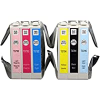 Colorful 79 (T079120 T079220 T079320 T079420 T079520 T079620) 6 Pack Ink Cartridges for e 1400 and Artisan 1430 Printer