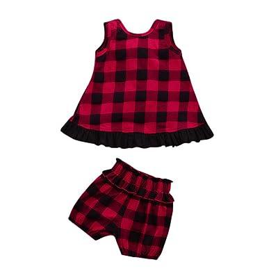 Sensail Bébé Ensemble, Bambin Bébé Fille Dos Volants T-Shirt Tops + Shorts Plaid Ensembles Vêtements
