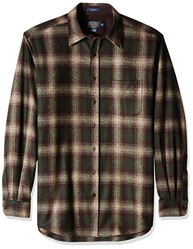 Pendleton Men's Size Long Sleeve Button Front Tall Lodge Shirt, Brown/Green/Taupe Mix Ombre, XL