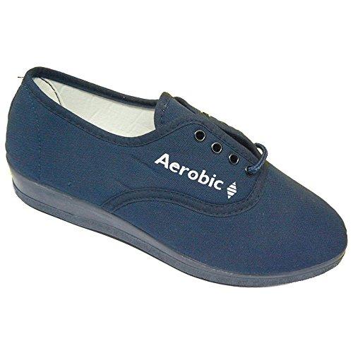 AEROBIC - Mujer Zapatillas LLana de Lona Y Cordones - Modelo 6001 MARINO