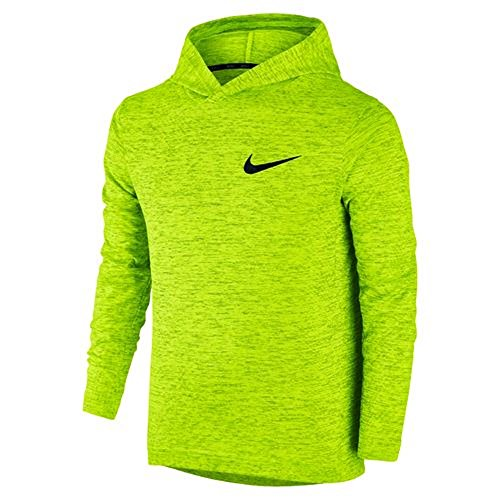 Nike Boys Dri‑FIT Hooded Long Sleeve Training Top (Small, Green Abstract)