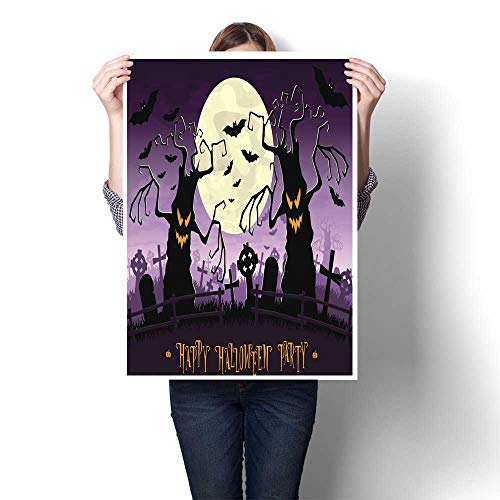 Canvas Print Wall Art Halloween Background Scary Monsters Trees on Old Cemetery Backdrop Moon Decorative Fine Art Canvas Print Poster K 24