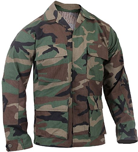 Lightweight Tactical BDU Shirt Ripstop Military Fatigue Army Coat 4-Pocket Camouflage Ripstop Army Fatigue Cap