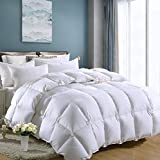 Luxury Queen Size White Goose Down Feather Comforter Duvet Insert Goose Down All Seasons 600 Thread Count Hypoallergenic 100% Cotton Cover Down Proof,Cozy Down Duvet with Corner Tabs.
