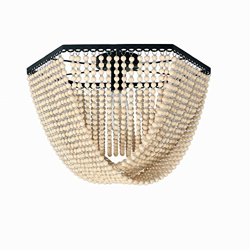 Unitary Brand Antique Black Metal and Wood Beads Decoration Hexagon Flush Mount Ceiling Light with 1 E26 Bulb Socket 60W Painted Finish (Light Wood Pendant Bead)