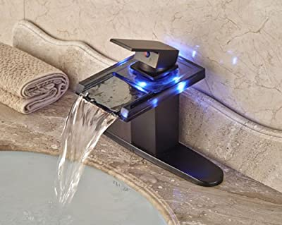 LED Light Waterfall Spout Bathroom Sink Faucet Basin Mixer Tap Oil Rubbed Bronze with Hole Cover Plate