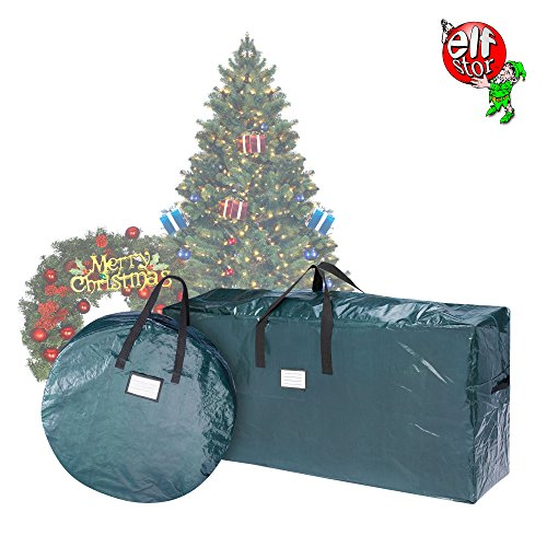 Elf Stor Combo | Christmas Storage 9 Foot Tall Artificial Trees & 30 Inch Wreath Bag |, Green