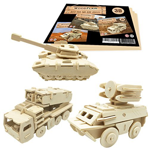 WoodFlair 3D Wooden Puzzle, Set of 3, Army by WoodFlair