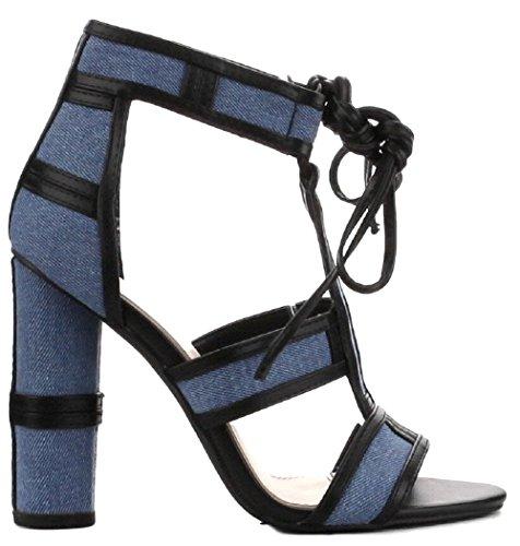 CAPE ROBBIN Maura-2 Denim Lace Up Open Peep Toe Strappy Block Heel Denim Sandal Shoe Blue 7.5