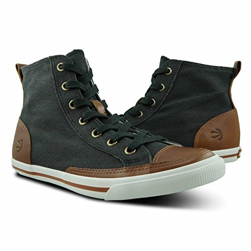 Burnetie Women's Carbon Black High Top Vintage sneaker 6 M US (Vintage Sneakers Shoes)