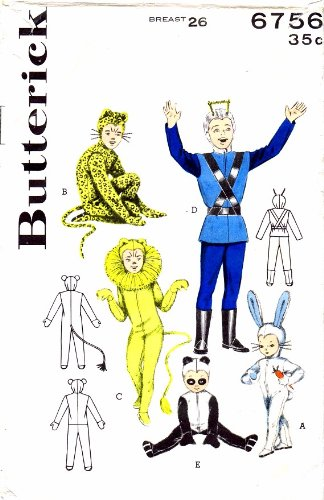 Butterick 6756 Vintage Sewing Pattern Space Suit Rabbit Leopard Lion Panda Costumes Size 6 - 8 (Bunny Suit Pattern Costume)